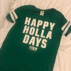 Happy holla days Victoria's secret pink shirt